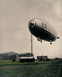 Airship R33 at her mast